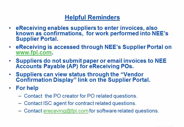 eReceiving Vendor Confirmation Wrap Up Part 4